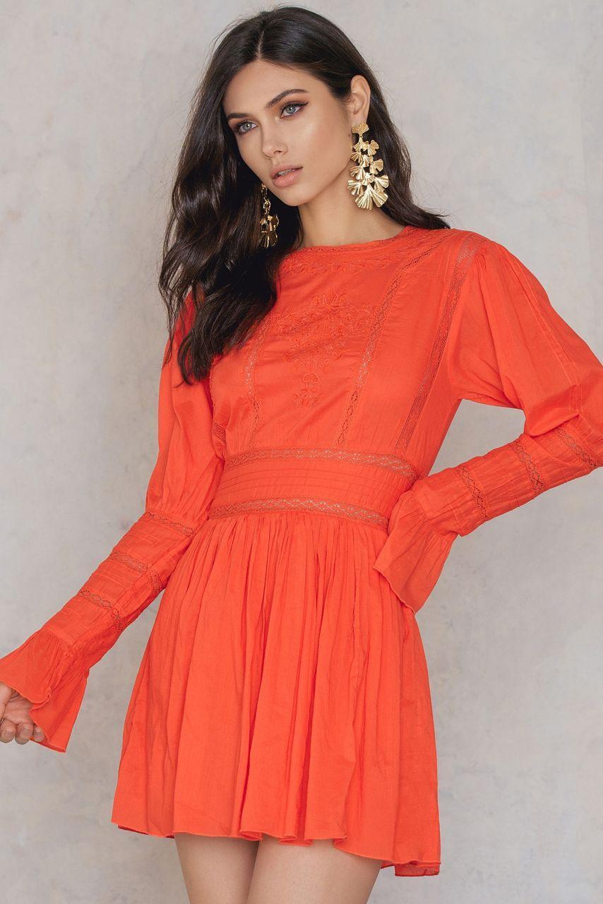 b22a319c06a9d Free People Victorian Waisted Mini Dress - Orange | ModeSens