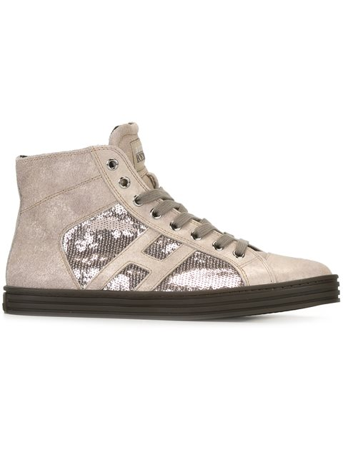 Hogan Rebel 20Mm Sequined Suede Sneakers In Off White