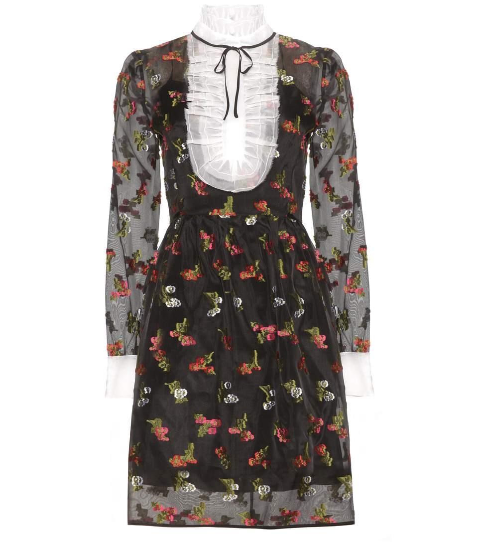 Erdem Katy Fil CoupÉ Silk-organza Mini Dress In Black/red