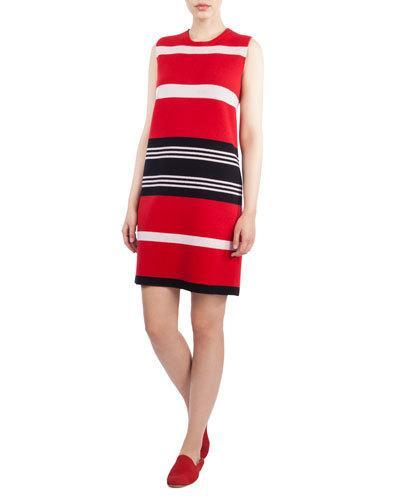 Akris Round-Neck Sleeveless Reversible Striped Cashmere Knit Dress In Black Love Water Lily
