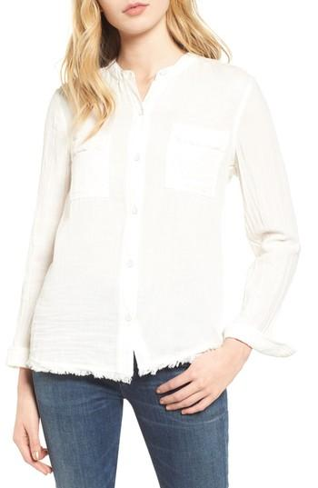 Splendid Button Front Shirt In Off White