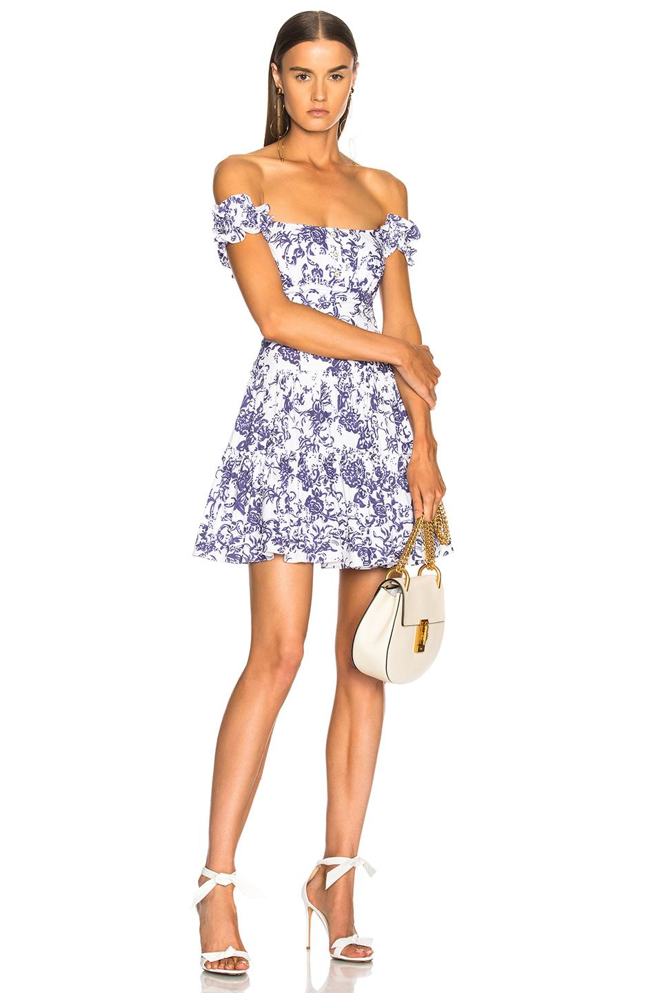 35fa83552a9 Maria Off-The-Shoulder Fit-And--Flare Floral-Print Poplin Dress, Navy