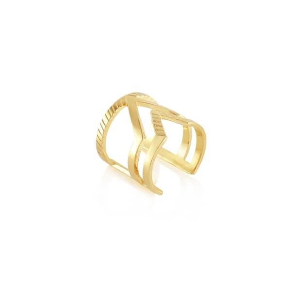 Edge Of Ember Chevron Duo Gold Ring