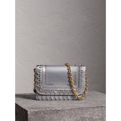 34f2be693eb2 Burberry Brogue Detail Metallic Leather Wallet With Detachable Strap In  Silver