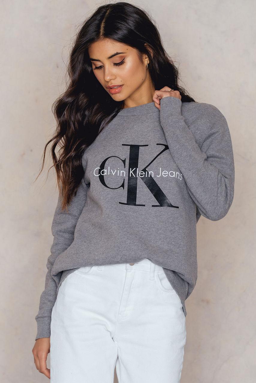 Sweatshirt GreyModesens Icon Neck True Calvin Klein Crew rBtQohdCxs