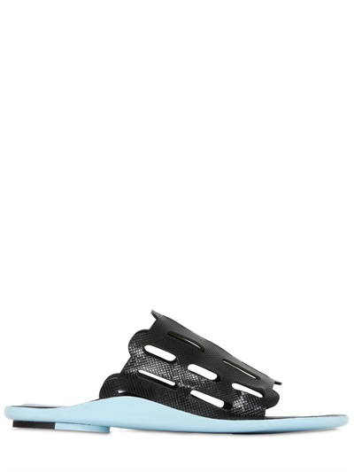 Kenzo 10Mm Embossed Patent Leather Sandals In Light Blue