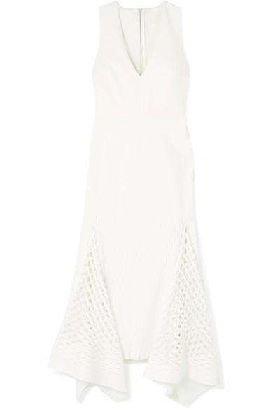 Dion Lee Cutout Neoprene And Stretch-Knit Midi Dress In White