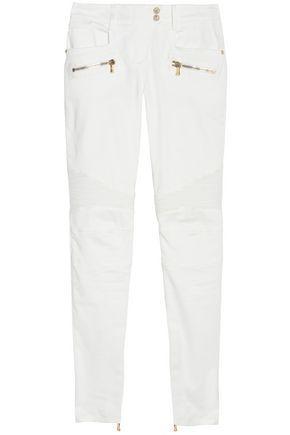 Balmain Woman Moto-Style Cotton-Blend Skinny Pants White