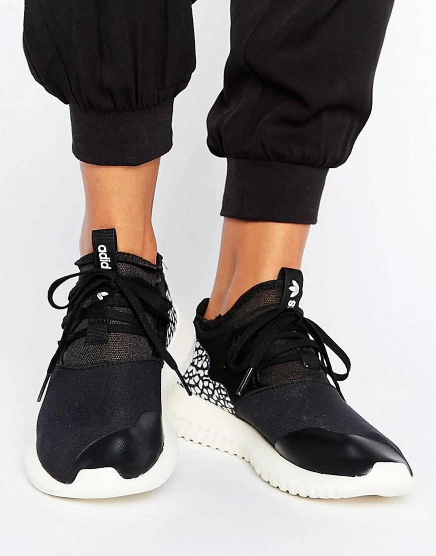 on sale a3445 9a271 Adidas Originals Black Tubular Sneakers With Cracked Leather Detail - Black