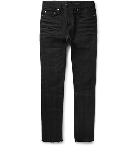 Saint Laurent Skinny-fit Raw Hem Denim Jeans In Blue