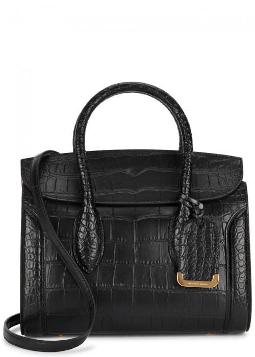 c8f025725ed72 Alexander Mcqueen Heroine 30 Crocodile-Effect Leather Tote In Black ...