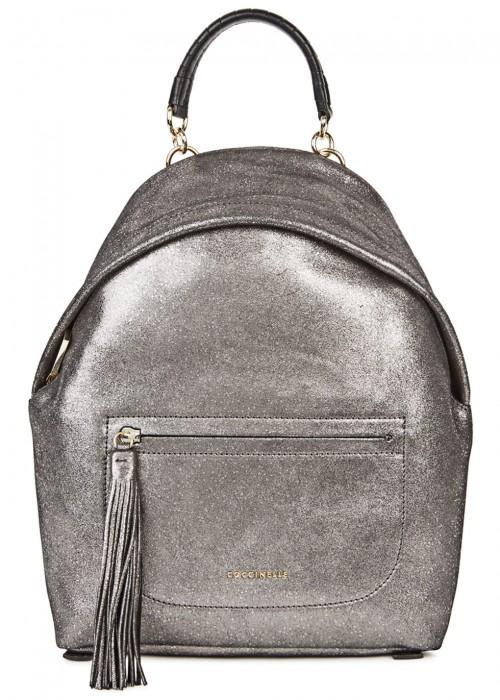 35b7cf864c0c8 Coccinelle Leonie Gunmetal Leather Backpack In Metallic Silver ...