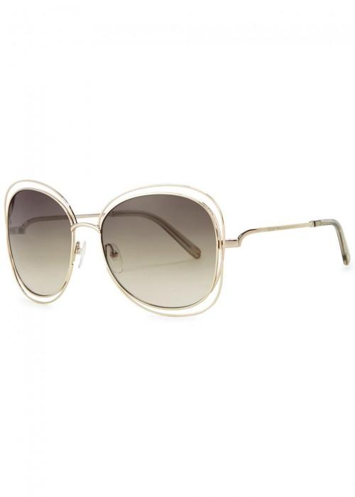 ChloÉ Carlina Gold-tone Oversized Sunglasses In Ld/green