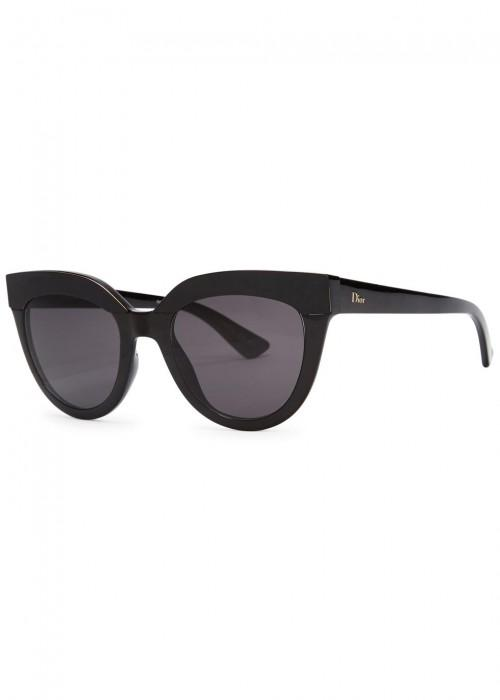 3be03055a44 Dior Soft Black Cat-Eye Sunglasses In Shiny Black Grey