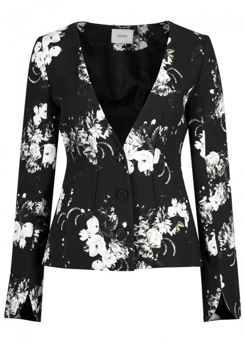 Erdem May Floral-print Jacket In Black
