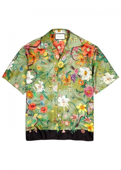83f83408 Gucci Flora Olive Printed Silk Shirt In Khaki | ModeSens