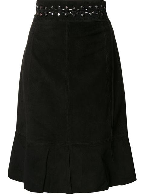 Proenza Schouler Woman Fluted Studded Suede Skirt Black