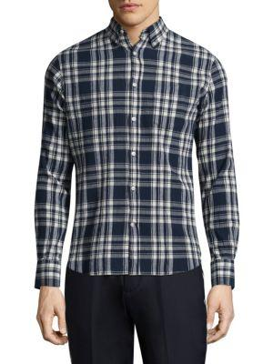 Officine Generale Checked Cotton Shirt In Blue