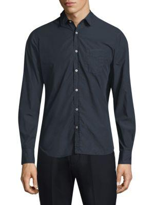 Officine Generale Cotton Button-Front Shirt In Navy