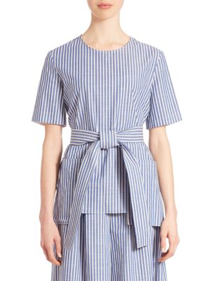 Adam Lippes Striped Belted Top