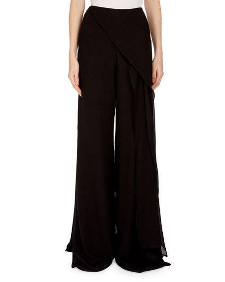 Roland Mouret Farnley Wide-Leg Side-Drape Textured Silk Pants In Black