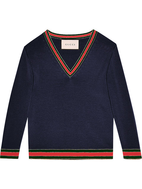 Gucci Stripe-trimmed Wool Sweater In Blue