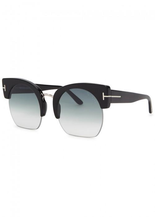 2fe90ce717 Tom Ford Savannah Clubmaster-Style Sunglasses In Black. Harvey Nichols