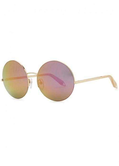 6899372d7ab6 Victoria Beckham Supra Round Mirrored Gold Tone Sunglasses In Rose ...