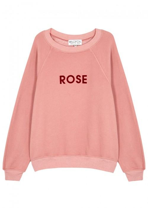 Wildfox Rose Sommers Cotton Blend Sweatshirt