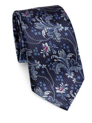 Ermenegildo Zegna Silk Branch Paisley Tie In Navy
