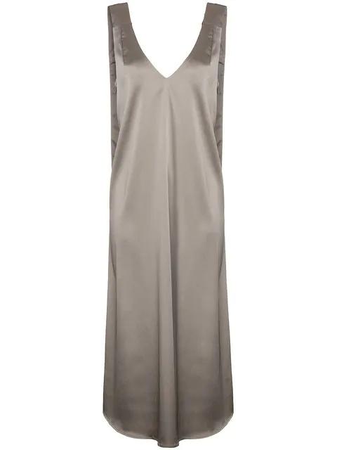Beaufille Satin Midi Dress In Metallic