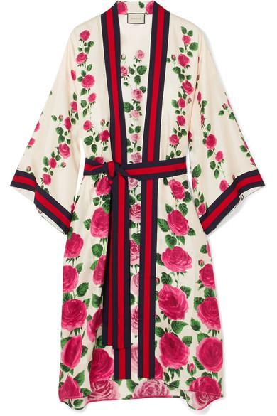 Gucci Le Jardin De Rose Grosgrain-trimmed Printed Silk-twill Robe In Pink