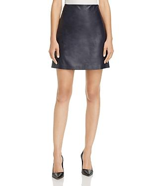 396e4be4a Theory L Paper Leather Micro-Mini Skirt In Navy | ModeSens