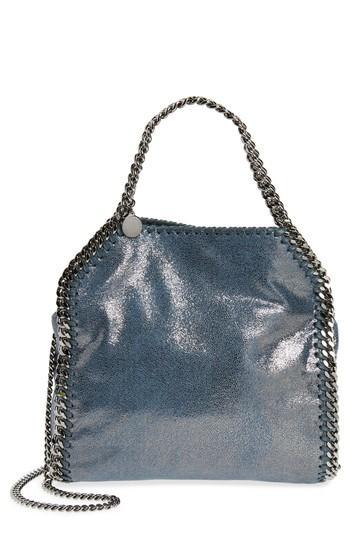 601a73506e97 Stella Mccartney Mini Falabella Shaggy Deer Metallic Faux Leather Tote -  Blue In Blue Lagoon