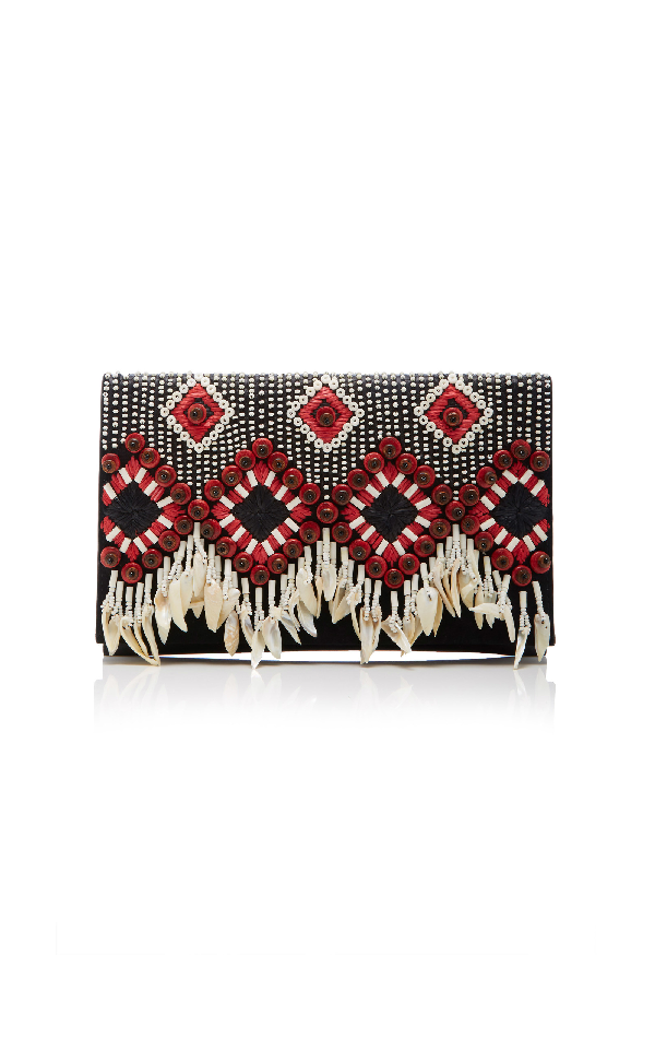 Tory Burch Brooke Embellished Clutch Bag In Black