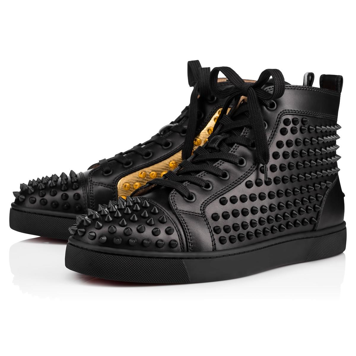 d61a0718e1a4 Christian Louboutin Yang Louis Leather High-Top Sneaker In Black Gold