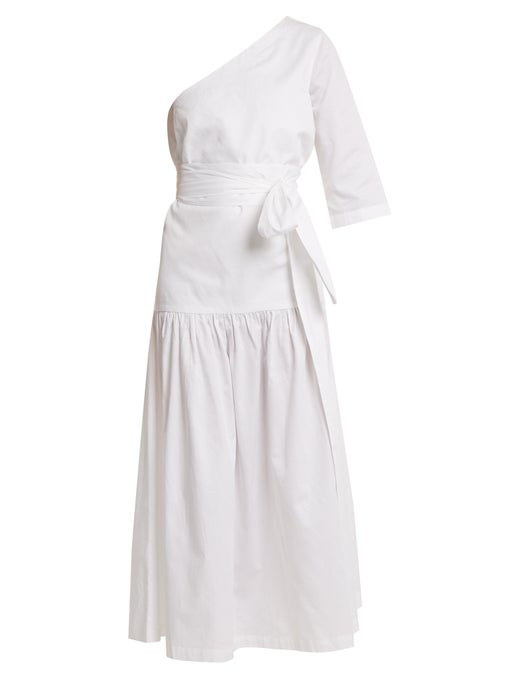 b415a9f065eb3 Mara Hoffman Sam One-Shoulder Tie-Waist Organic-Cotton Dress In White