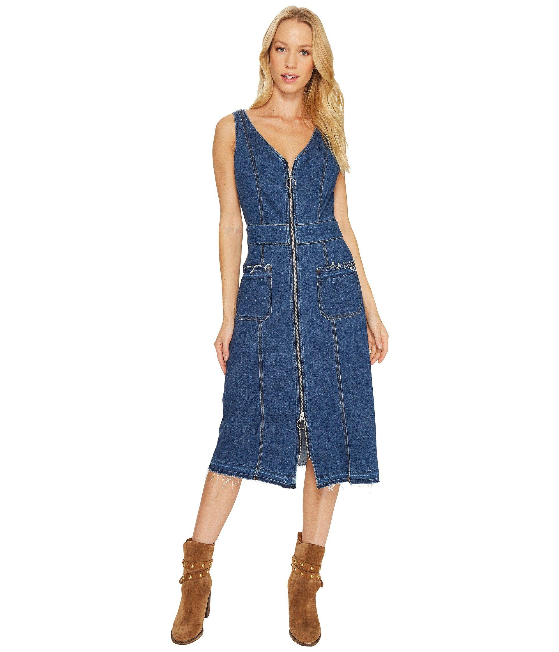 549d97303d 7 For All Mankind V-Neck Zip-Front Sleeveless Denim Dress In Sunrise ...