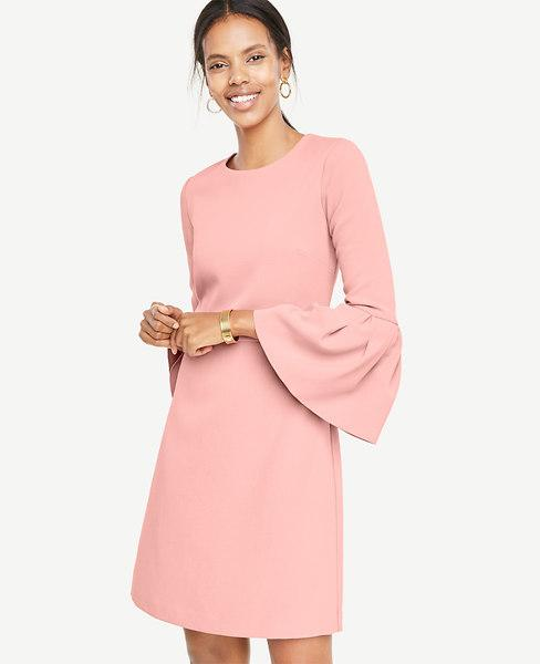 f38e346d87a Ann Taylor Petite Bell Sleeve Flare Dress In Pink Sea Shell