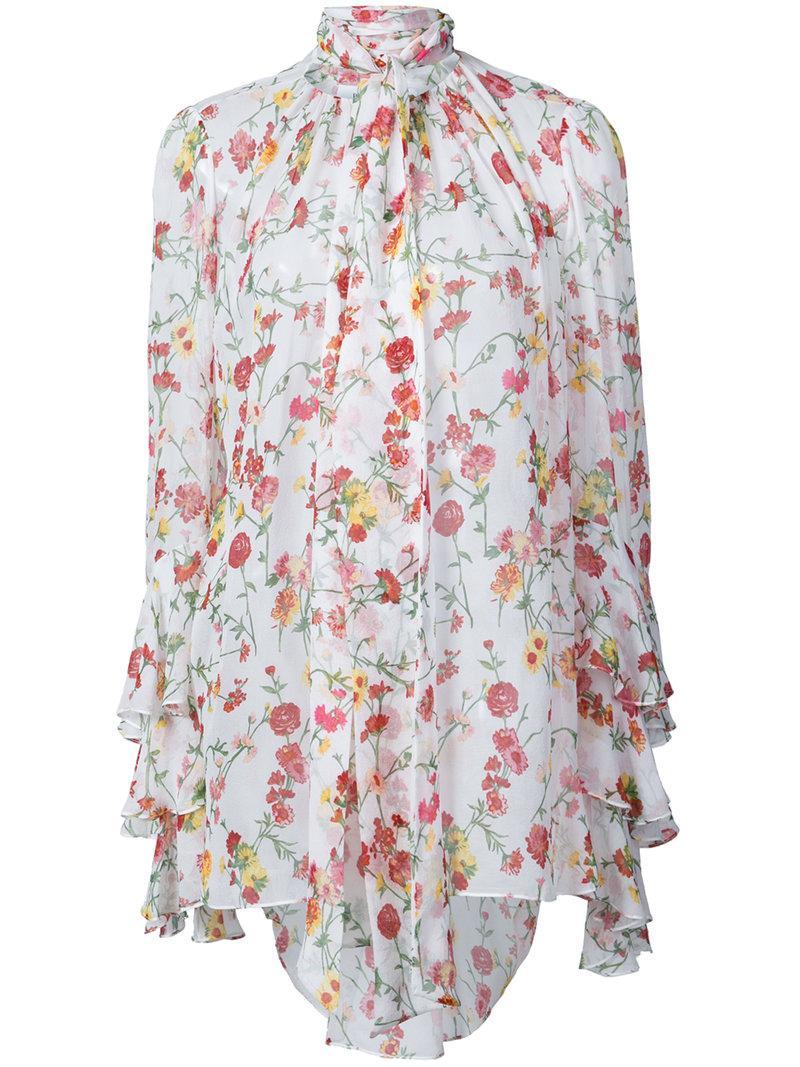 60224416f02eeb Prabal Gurung Scarf-Neck Long-Sleeve Floral-Print Silk Blouse In White