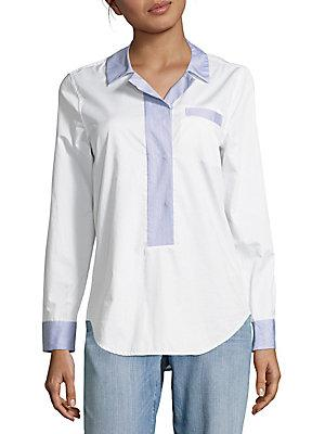 Equipment Stripe-Trimmed Cotton Top In Bright White