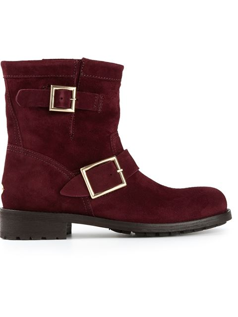 Jimmy Choo Tourmaline Suede 'Youth' Dual Buckle Motorcycle Boots