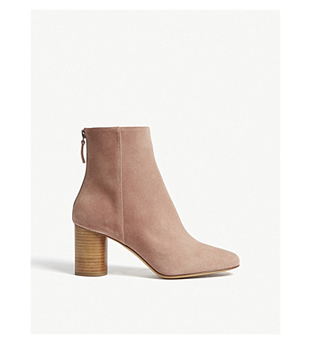 3cec9efd1372f Sandro Sacha Suede Heeled Ankle Boots In Vieux Rose | ModeSens