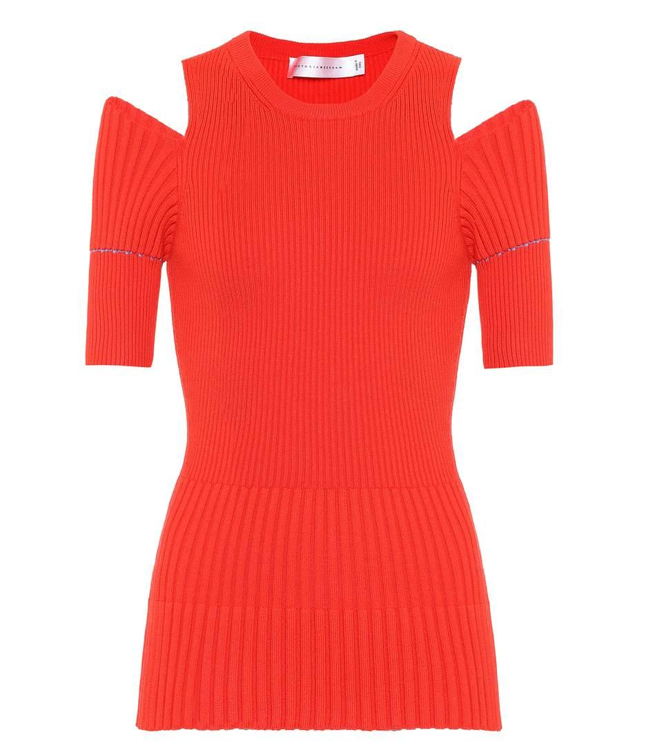 Victoria Beckham Ribbed Wool Top In Red