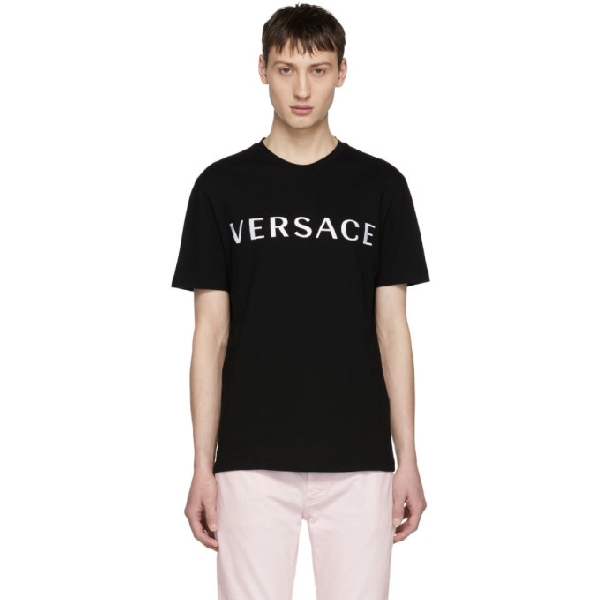 Versace Logo Embroidered Cotton Jersey T-shirt In A99c Black/