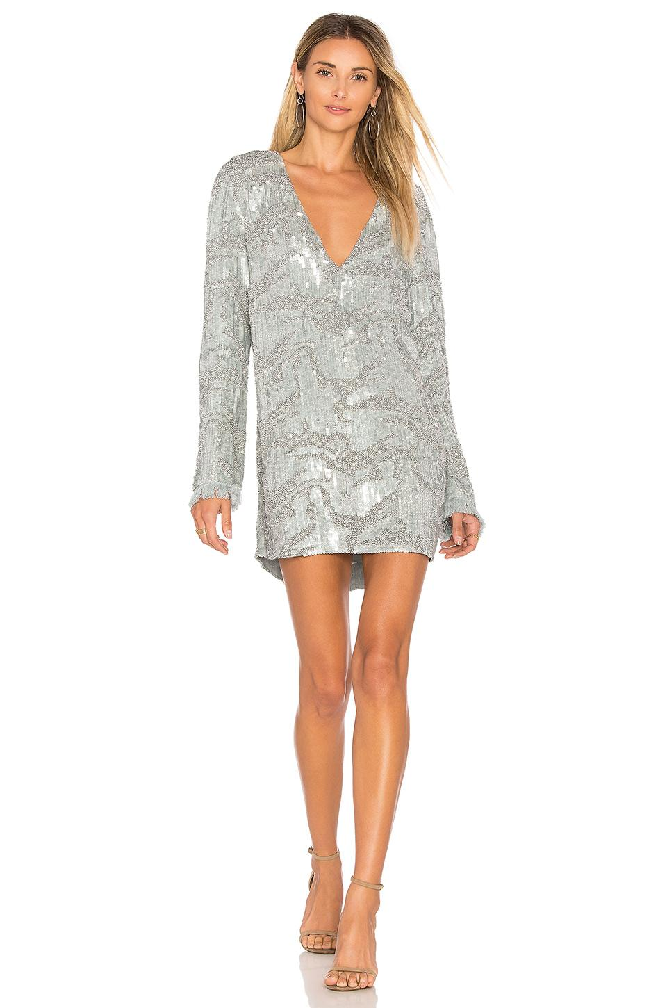 Aje Odyssey Sequin Dress In Gray