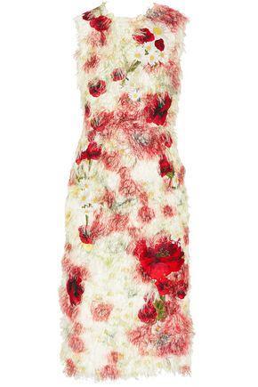 Dolce & Gabbana Floral-appliquÉd Fil CoupÉ Midi Dress In Red