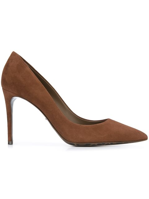 Dolce & Gabbana 85mm Suede Pumps With Leopard Sole, Brown