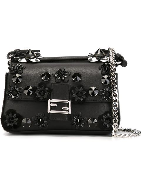 Fendi Flower-studded Two-tone Leather & Mink Fur Double Micro Baguette In Black Multi
