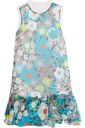Victoria Victoria Beckham Woman Paneled Printed Silk And Cotton Mini Dress White